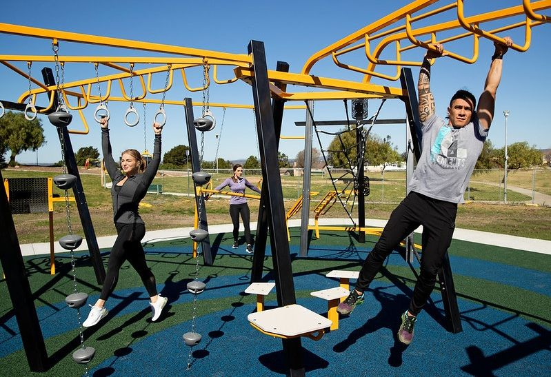 Exercising Outdoors at Public Park