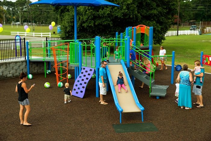 Children and Parents at Commercial Playground