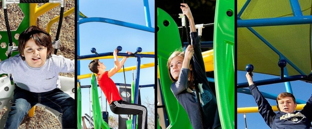 Collage of images from GameTime's Stadium obstacle course