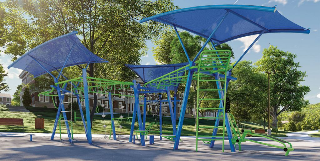 Outdoor fitness equipment with integrated shade