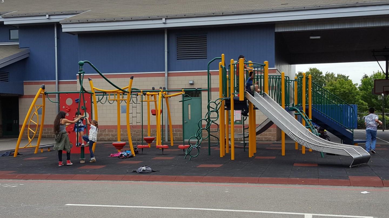 elementary school playground with metal slides sitelines